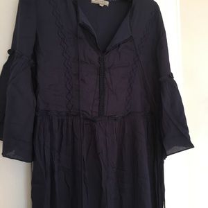 World Market Navy blue peasant style dress